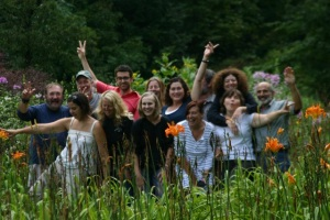 Helen, with K25 group, center back row with arm raised at Treefrog Farm, 2012