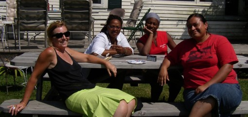 Pamela with campers in Vermont at Kopkind, 2010
